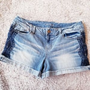 Maurices Jean Shorts Embroidered Boho Roll Hem